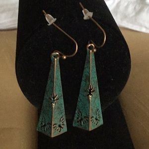 Jewelry - COPPER PYRAMIDS with BUTTERFLY CUTOUTS EARRINGS